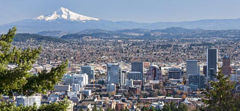 City of Portland with Mt. Hood.